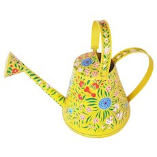 Vintage Folk Art Yellow Tole Painted Watering Can