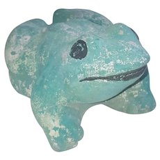 Vintage Green Painted Cement Frog Yard Art From My Collection