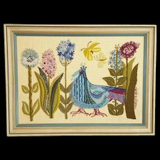 Vintage 1960's Framed Peacock, Butterflies, & Flowers Crewel Embroidery