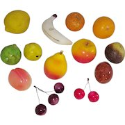 Group of 14 Vintage Italian Stone Fruit inc. Cherries, Banana, Tangerine