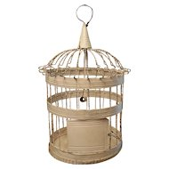 Authentic Vintage Primitive Shabby Chic White Painted Birdcage