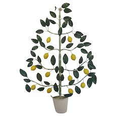 Vintage Shabby Chic Italian Lemon Tree Topiary Wall Art