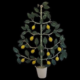 Vintage Shabby Chic Italian Lemon Tree Topiary Wall Art