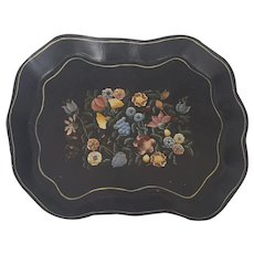 Vintage Shabby Chic Floral Painted Papier Mache Tray