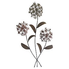 Vintage Shabby Chic Iron & Tin Painted Hydrangea Wall Decor