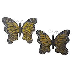 Matched Pair of Vintage Folk Art Yellow, Black & White Butterflies Wall Decor