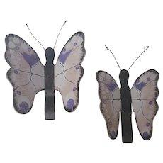 Pair of Vintage Folk Art Lavender, Pink, Black, & White Butterflies Wall Decor
