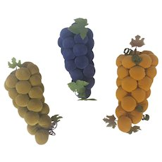 Unique Trio of Vintage Handmade Folk Art Velveteen Grape Clusters