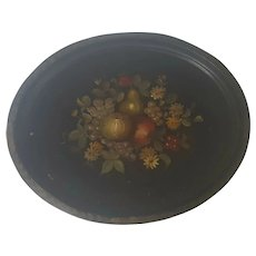 Large Antique Fruit & Flower Motif Toleware Metal Tray