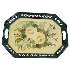 Vintage Shabby Chic Green & Cream Floral Design Painted Metal Tray