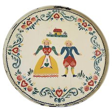 Vintage Signed Mid 20th C. Round Wood & Metal Tole Painted Tray w/Colonial Couple
