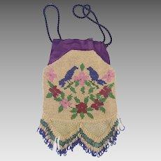 Vintage 1920's Bluebirds & Flowers Design Beaded Purse