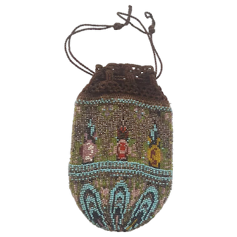 Vintage 1920's Floral Design beaded and Crocheted Reticule Handbag
