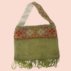 Vintage 1920's Lime Green Beaded Satchel Style Handbag Purse