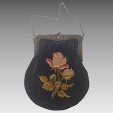 Vintage 1920's Velvet Embroidered Rose Design Purse with Initials and Lion Closure