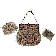 Vintage Petit Point Bird & Vase Design Handbag with Matching Change Purse