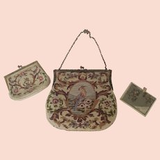Vintage Petit Point Bird & Vase Design Handbag with Matching Change Purse