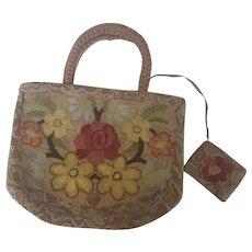 Vintage Handmade Hooked Floral Design Handbag & Matching Change Purse