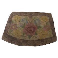 Vintage Handmade Hooked Floral Design Clutch Purse