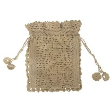 Petite Early 1900's Hand Crocheted Drawstring Purse