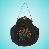 Vintage 1920's Embroidered & Beaded Floral Design Black Evening Handbag
