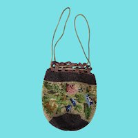 Antique Late 19th Early 20th C. Floral Design Beaded Reticule Handbag #2