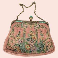 Exquisite Vintage Pink Pink Floral Design Needlepoint Handbag