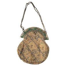 Antique Victorian Fancy Brocade Formal Handbag w/Fan Style Clasp & Face Design Chain Holders
