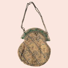 Antique Victorian Fancy Brocade Formal Handbag w/Fan Style Clasp & Face Design Chain Holders