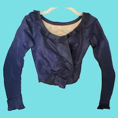 Antique Victorian Dark Blue Taffeta L/S Blouse w/Fluted Details