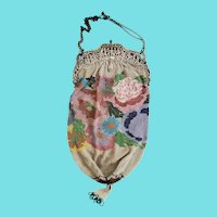 Stunning Antique Victorian Floral Design Beaded Purse w/ Elaborate Dancing Children Closure