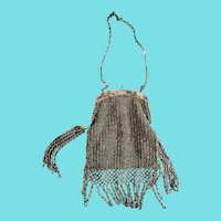 Antique Victorian Silver Crocheted & Beaded Purse w/ Elaborate Fringe & Side Tassels