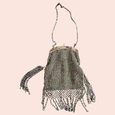 Antique Victorian Silver Crocheted & Beaded Purse w/ Elaborate Fringe & Side Tassels