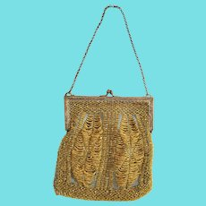 Antique Victorian Gray & Yellow Crocheted & Beaded  Purse