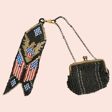Unusual Antique WWI Era Beaded Men's Change Purse w/Patriotic Fob