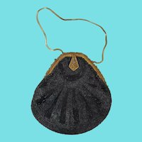 Exquisite  Antique Black Beaded Teardrop Evening Handbag Purse Made in France