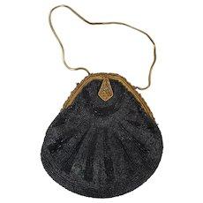 Exquisite  Antique Black Beaded Teardrop Evening Handbag Purse Made in France