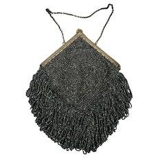 Stunning Antique Victorian Diamond Shaped Black Iridescent Beaded Evening Purse/Handbag