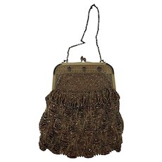 Fabulous Antique Victorian Copper/Gold Iridescent Beaded Evening Purse/Handbag
