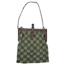 Graphic Antique Green & Silver Checkerboard Design Beaded Evening Purse/Handbag