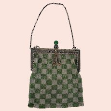 Graphic Antique Green & Silver Checkerboard Design Beaded Evening Purse/Handbag