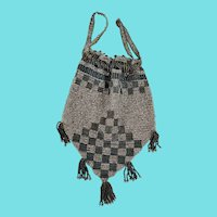 Petit Antique Teal & Silver Checkerboard Design Beaded Evening Drawstring Reticule Purse/Handbag