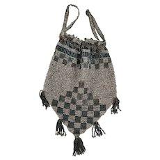 Petit Antique Teal & Silver Checkerboard Design Beaded Evening Drawstring Reticule Purse/Handbag