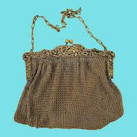 Antique Gold Mesh Evening Purse/Handbag w/Elaborate Frame & Engraved Gift Initials