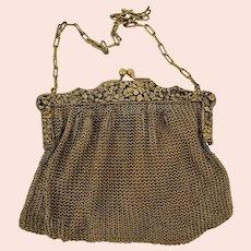 Antique Gold Mesh Evening Purse/Handbag w/Elaborate Frame & Engraved Gift Initials