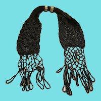 Vintage 1920's Black Beaded Knit Miser's Purse