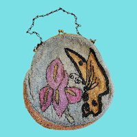Vintage 1920's Butterfly & Iris Beaded Purse Made in Belgium