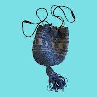 Vintage 1920's Teal Blue Crocheted & Beaded Flapper Reticule Purse