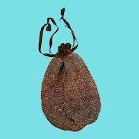 Vintage 1920's Brown Iridescent Beaded Reticule Purse