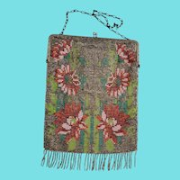 Large Vintage 1920's Creations International Floral Design Beaded Purse w/MIrror